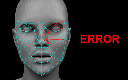 face recognition error on black background. 3d rendering Archivio Fotografico