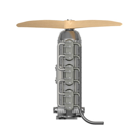 airplane small engine isolated on white top view. 3d rendering