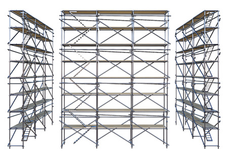 Group scaffolding isolated on white. 3d rendering