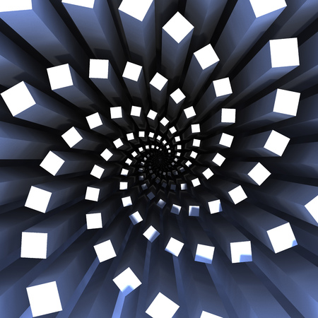 background of rectangles in a spiral form. 3d rendering Stock Photo
