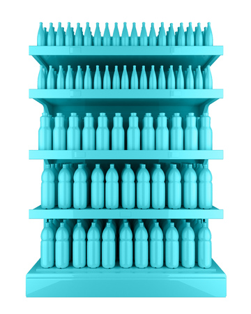 Supermarket Stand with faceless bottles in turquoise color. 3d rendering Banco de Imagens - 103513386