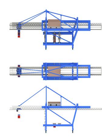 cargo crane isolated on white. 3d rendering Zdjęcie Seryjne