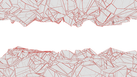 abstract polygonal cavern with red lines 3d rendering Imagens