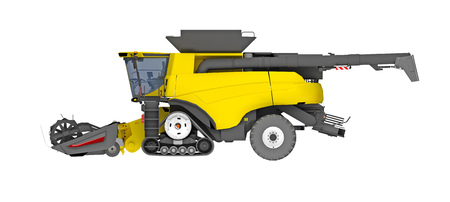 combine harvester side view isolated on white. 3d rendering