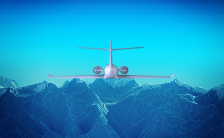 airplane flies over the abstract mountains