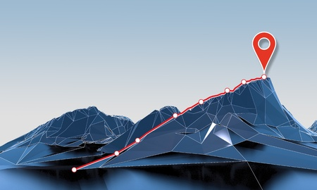 abstract polygonal mountain with path top