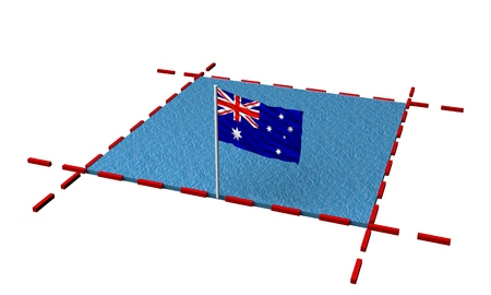 part sea with borders and flag of Australia. 3d rendering Stock Photo