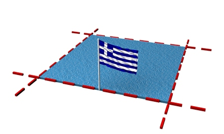 part sea with borders and flag of Greece. 3d rendering