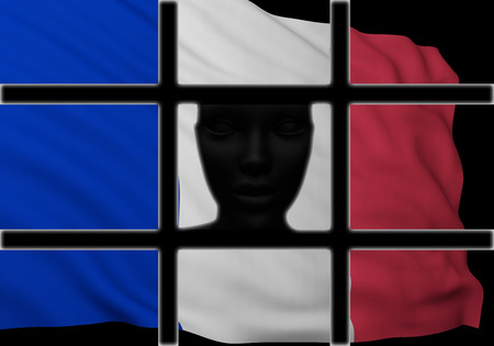 silhouette head behind bars with flag of France. 3d rendering Standard-Bild - 116135953