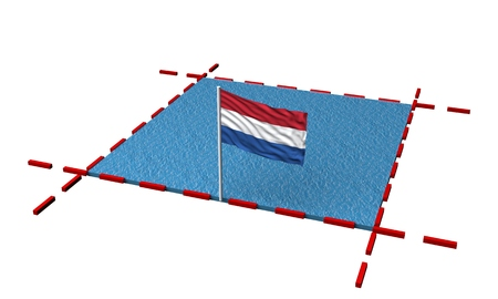 part sea with borders and flag of Netherlands. 3d rendering