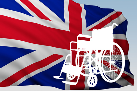 silhouette wheelchair with flag Great Britain. 3d rendering