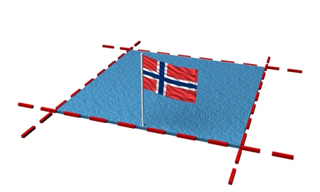 part sea with borders and flag of Norway. 3d rendering