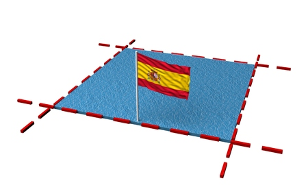 part sea with borders and flag of Spain. 3d rendering 写真素材