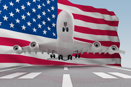 airplane taking off against the background of the flag USA. 3d rendering