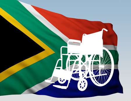 black wheelchair with flag South Africa. 3d rendering Stock Photo