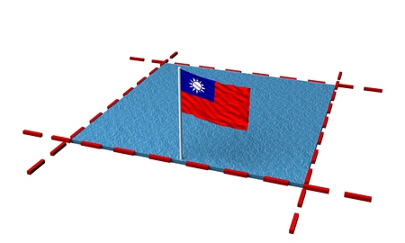 part sea with borders and flag of Taiwan. 3d rendering