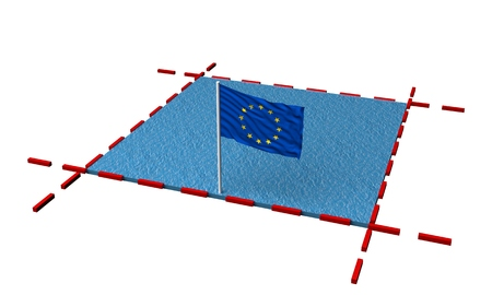 part sea with borders and flag of European Union. 3d rendering
