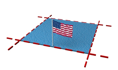 part sea with borders and flag of USA. 3d rendering 写真素材