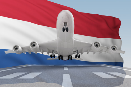 airplane takes off against backdrop Netherlands flag. 3d rendering