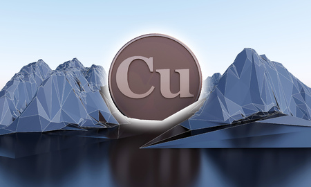 copper symbol in shape of coin in abstract mountains. 3d rendering