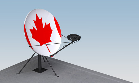 satellite dish with the flag of Canada. 3d rendering