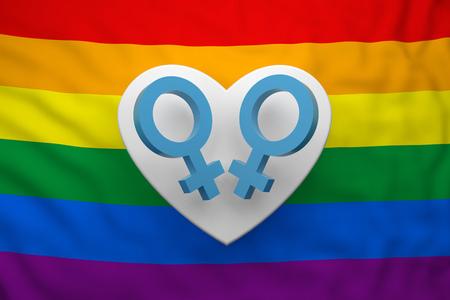 male gender symbols with flag LGBT. 3d rendering