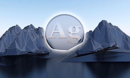silver symbol in shape of coin in abstract mountains. 3d rendering Imagens