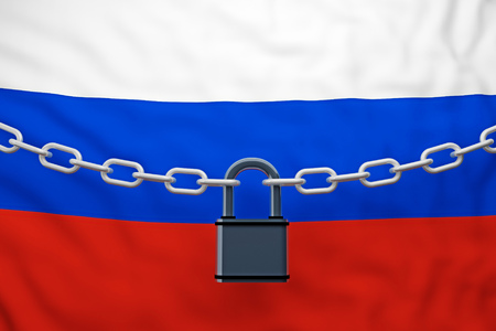 Russia flag closed chain with padlock. 3d rendering
