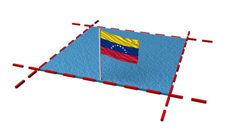 part sea with borders and flag of Venezuela. 3d rendering 写真素材