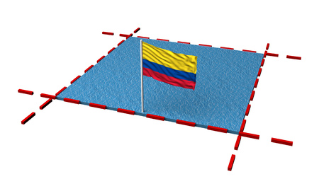 part sea with borders and flag of Colombia. 3d rendering