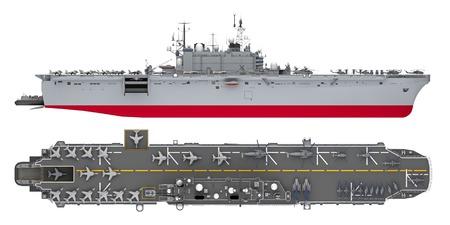 côté porte-avions et vue de dessus isolé sur blanc. rendu 3D
