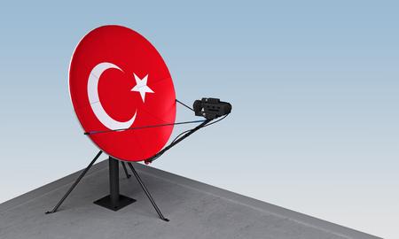 satellite dish with the flag of Turkey. 3d rendering Zdjęcie Seryjne