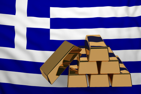 gold bars on flag Greece. 3d rendering Stock Photo