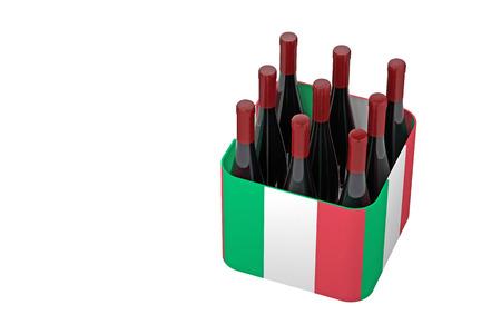 bottles of wine in a box of italy flag. 3d rendering 版權商用圖片