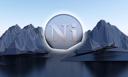 nickel symbol in shape of coin in abstract mountains. 3d rendering