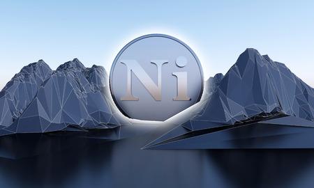 símbolo de níquel en forma de moneda en montañas abstractas. Representación 3d