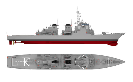 warship side view and top view isolated on white. 3d rendering Standard-Bild