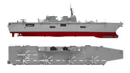 aircraft carrier side and top view isolated on white. 3d rendering Banque d'images