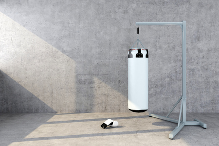 punching bag with a concrete wall. 3d rendering Stock fotó