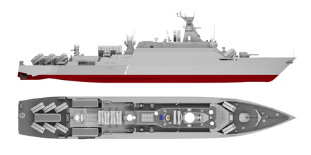 warship side view and top view isolated on white. 3d rendering Stockfoto