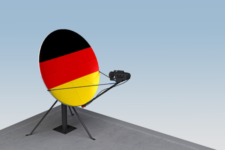 satellite dish with the flag of Germany. 3d rendering