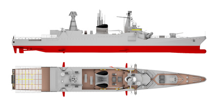 warship side view and top view isolated on white. 3d rendering Stock Photo