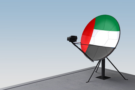 satellite dish with the flag of UAE. 3d rendering