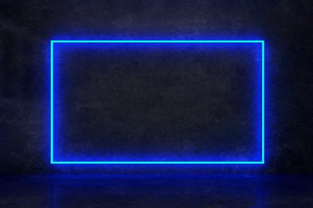 rectángulo de neón azul en una pared oscura. Representación 3d Foto de archivo