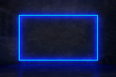 rectangle blue neon on a dark wall. 3d rendering
