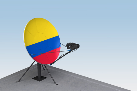 satellite dish with the flag of Colombia. 3d rendering Zdjęcie Seryjne