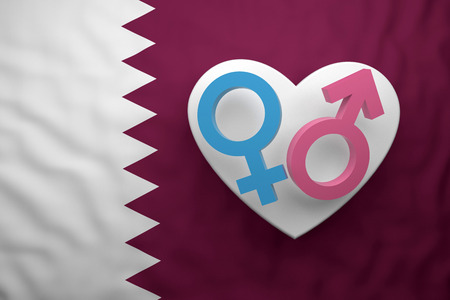 gender symbols with flag Qatar. 3d rendering