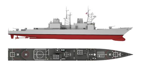 vue latérale du navire de guerre et vue de dessus isolée sur blanc. rendu 3D Banque d'images