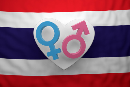 gender symbols with flag Thailand. 3d rendering Banque d'images