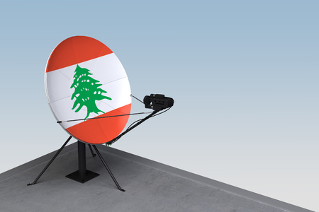 satellite dish with the flag of Lebanon. 3d rendering Banque d'images